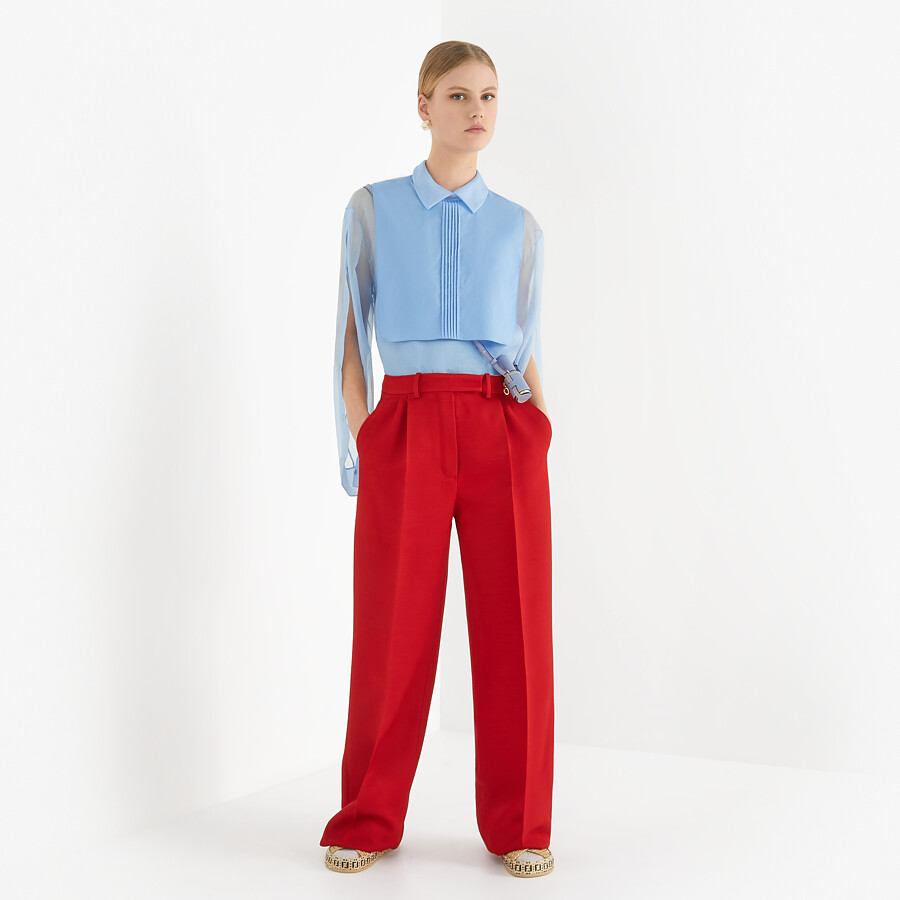 FENDI SHIRT - Light blue silk shirt - view 4 detail