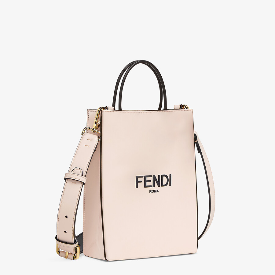 FENDI FENDI PACK SMALL SHOPPING BAG - Pink leather bag - view 3 detail