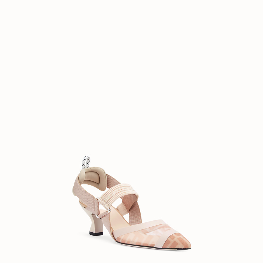 FENDI SLINGBACK - Colibrì in pink mesh and nude leather - view 2 detail