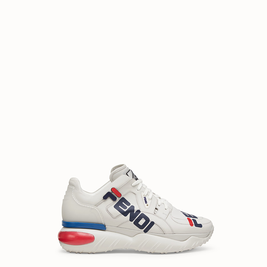 FENDI SNEAKERS - White nappa leather low tops - view 1 detail