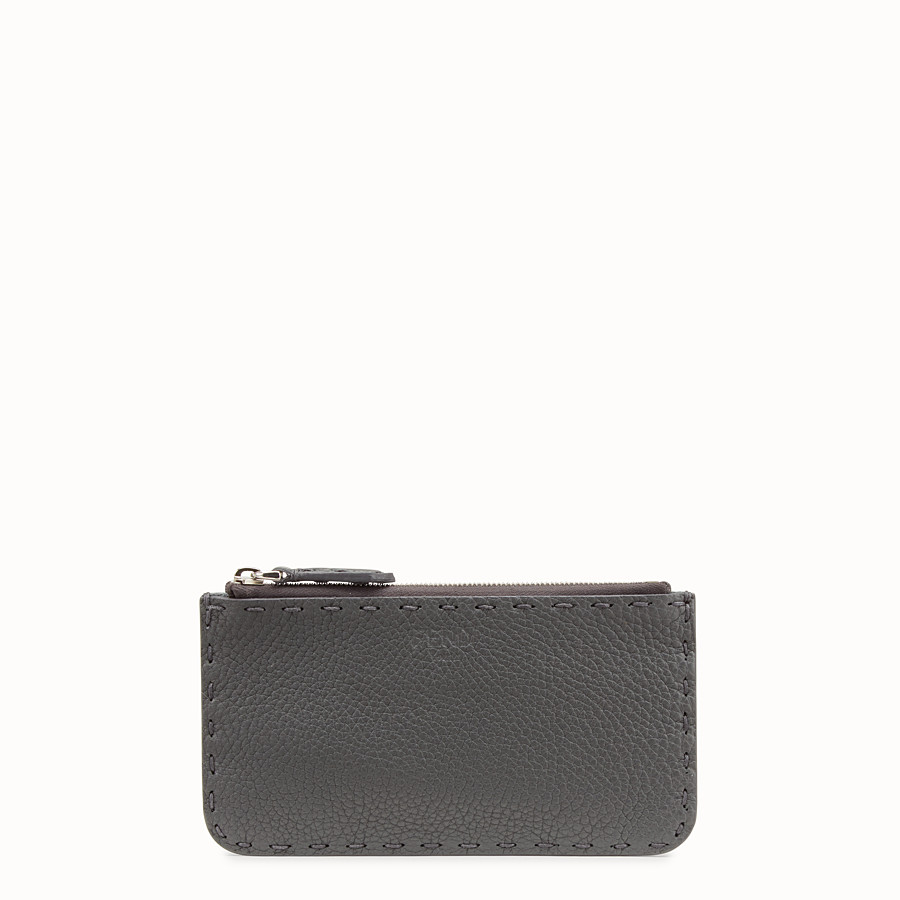 FENDI CARD POUCH - Grey leather pouch - view 1 detail