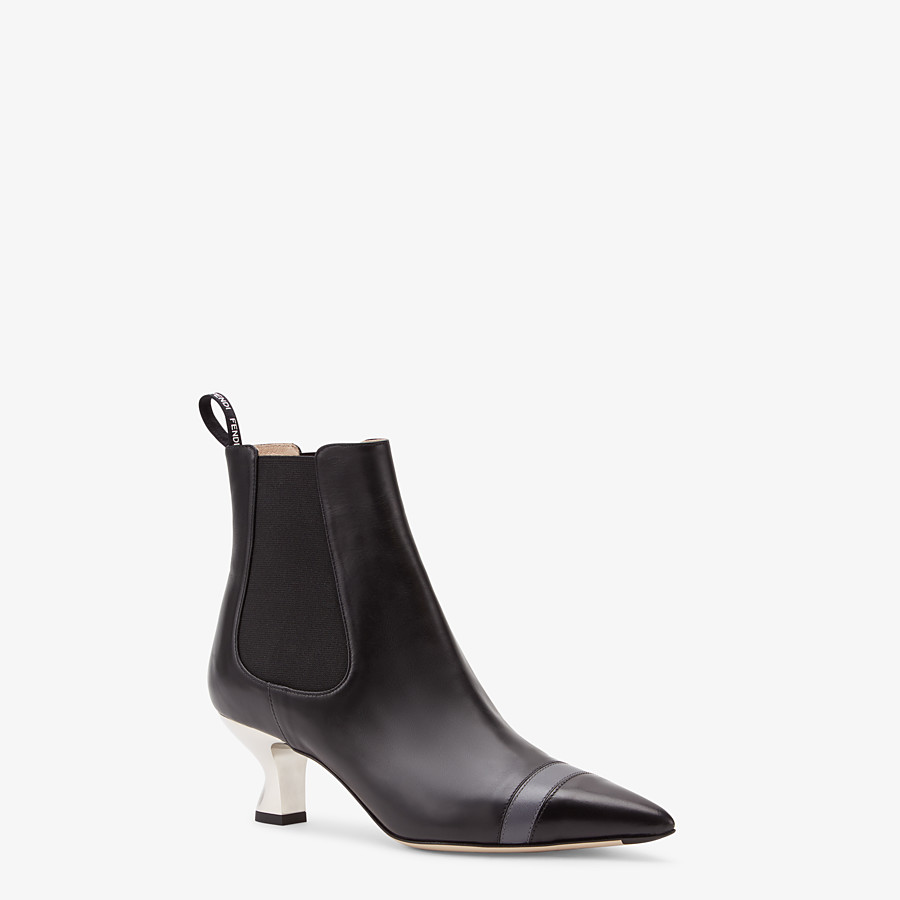 FENDI ANKLE BOOTS - Booties in black leather - view 2 detail