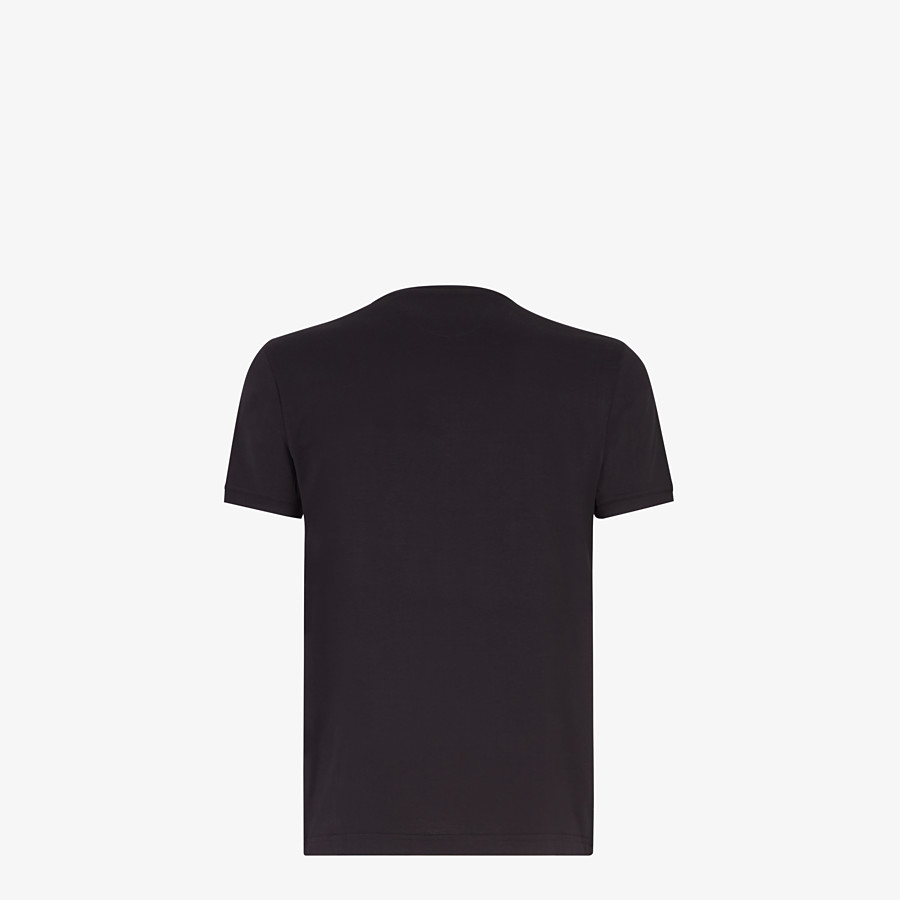 FENDI T-SHIRT - Black cotton jersey and leather t-shirt - view 2 detail