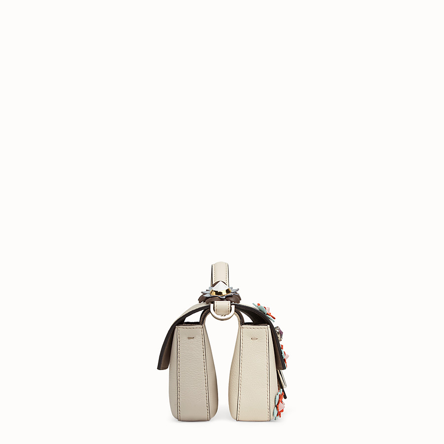 FENDI DOUBLE MICRO BAGUETTE - Micro bag in white leather with flowers - view 2 detail