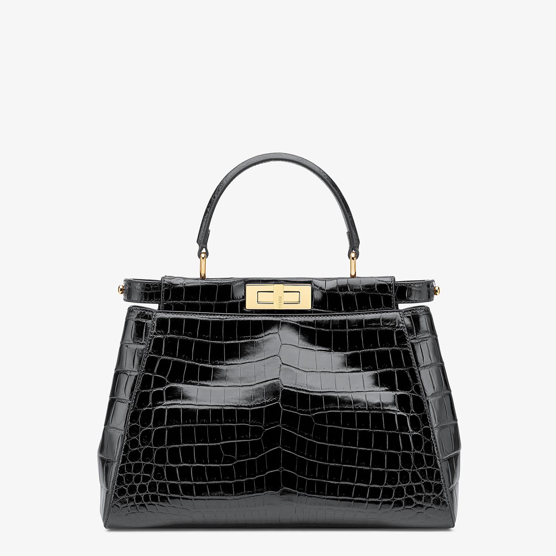 FENDI PEEKABOO ICONIC MEDIUM - Black crocodile leather handbag. - view 1 detail