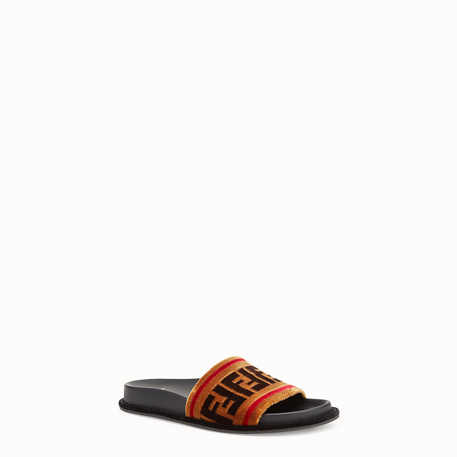 FENDI SLIDES - Multicolor fabric flats - view 2 detail