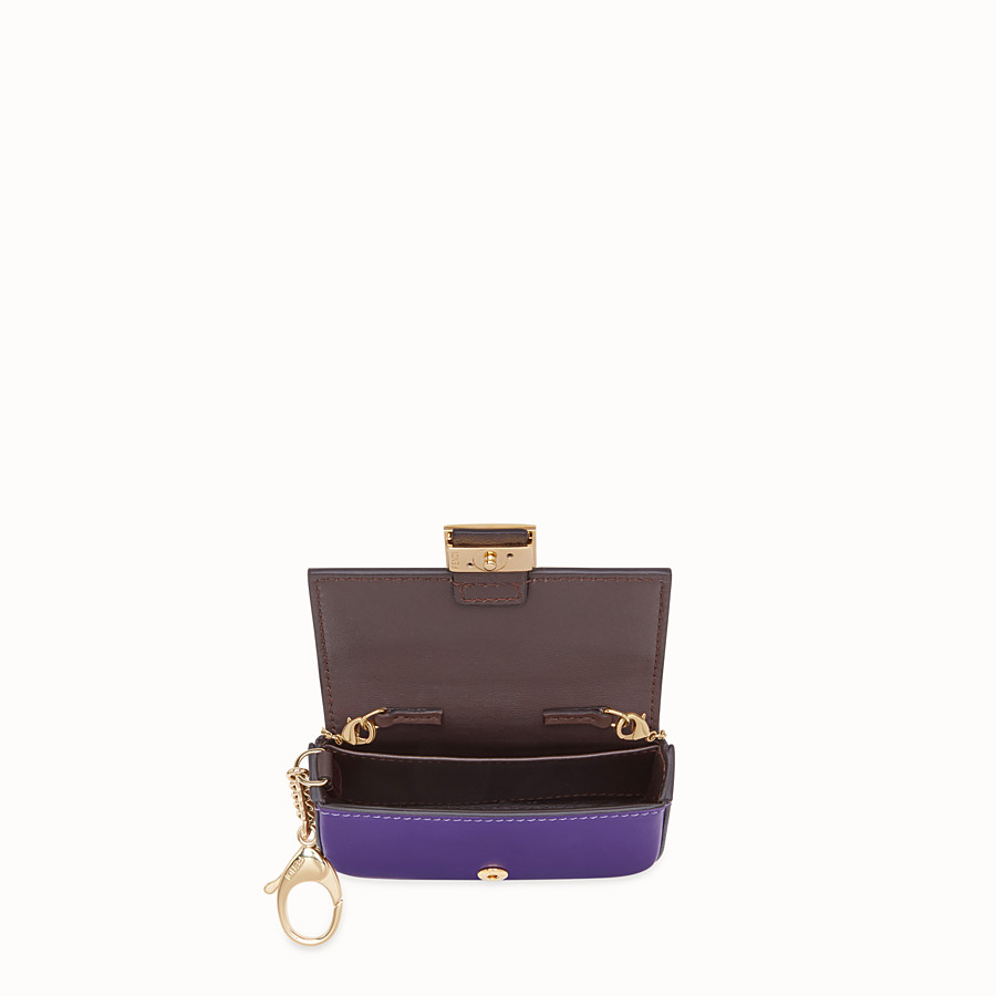 FENDI NANO BAGUETTE CHARM - Purple leather charm - view 5 detail