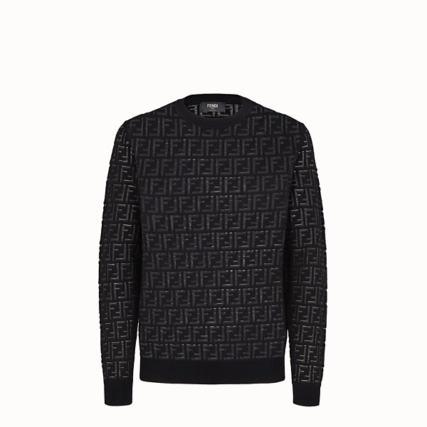 FENDI PULLOVER - Jumper in black nylon and wool - view 1 small thumbnail