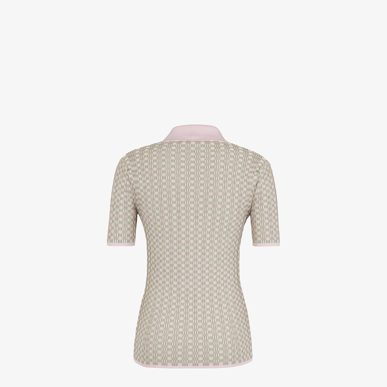 FENDI JUMPER - Vichy viscose polo shirt - view 2 detail