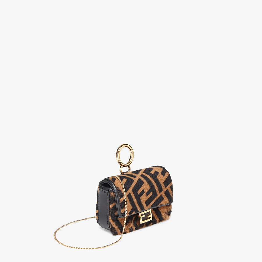 FENDI NANO BAGUETTE CHARM - Brown sheepskin charm - view 2 detail