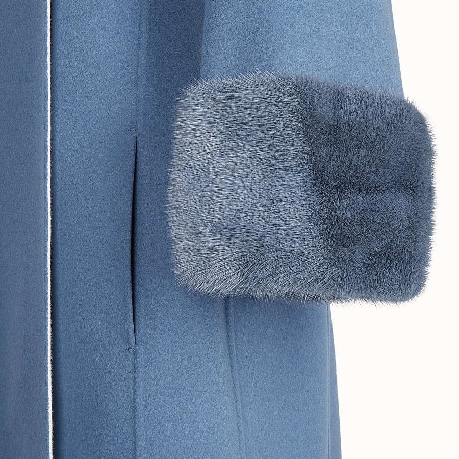 FENDI OVERCOAT - Blue wool overcoat - view 3 detail