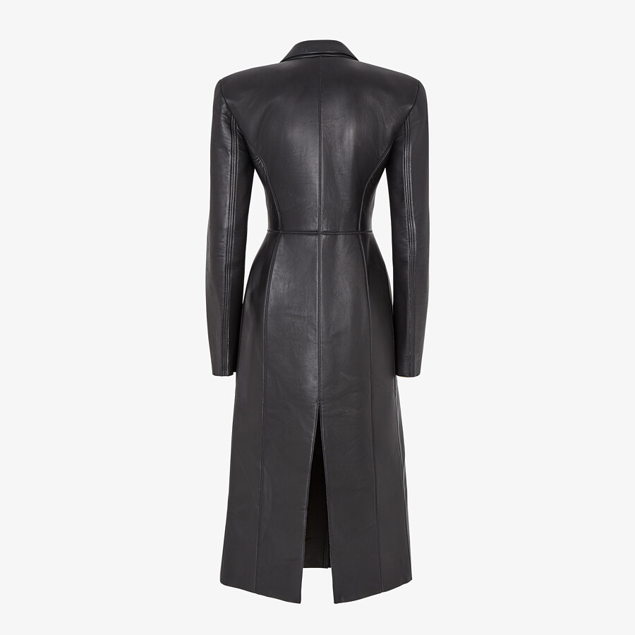 FENDI COAT - Black leather coat - view 2 detail