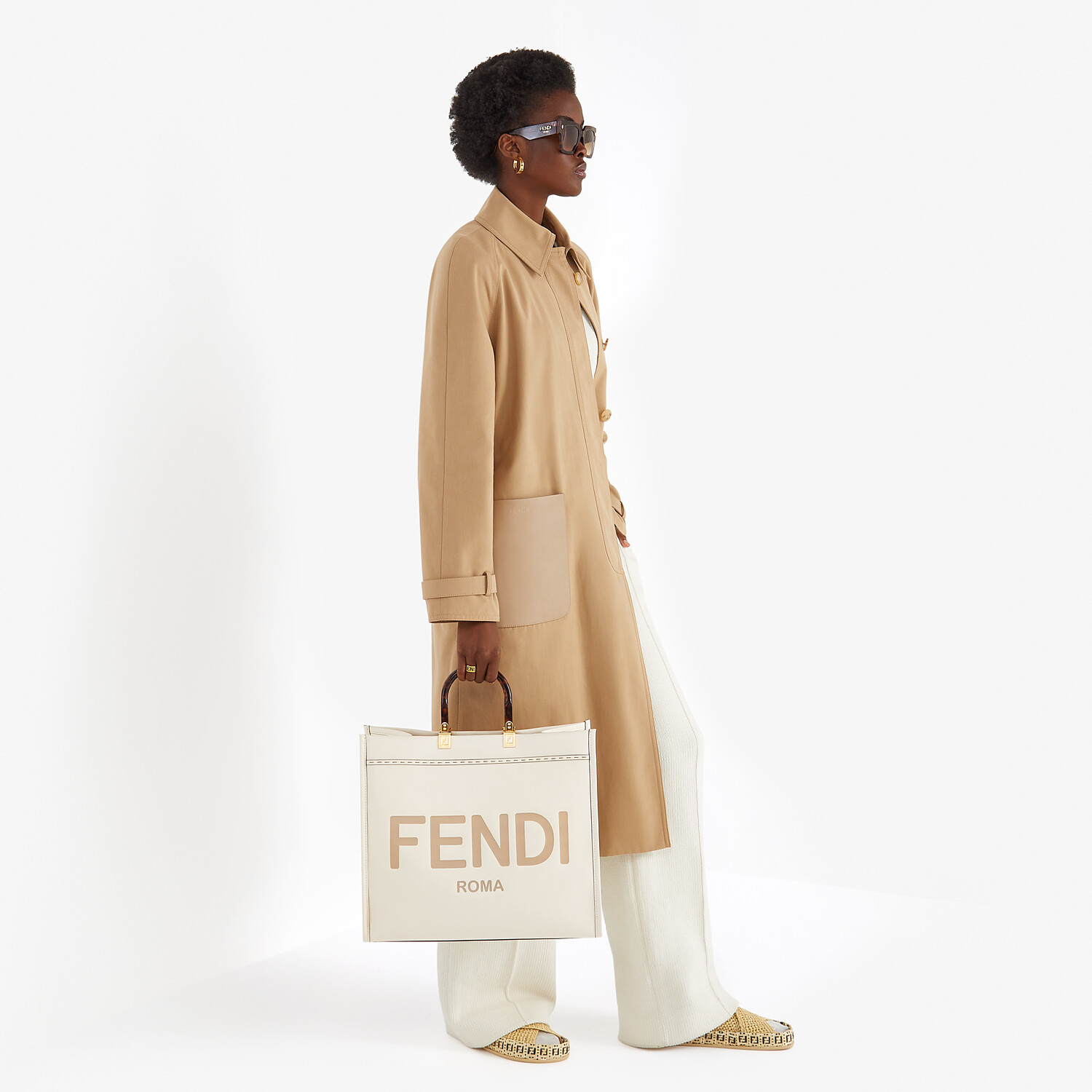 FENDI SUNSHINE SHOPPER - White leather shopper - view 2 detail