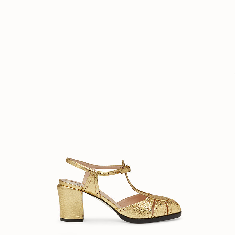 FENDI SANDALS - Gold laminated leather sandals - view 1 detail