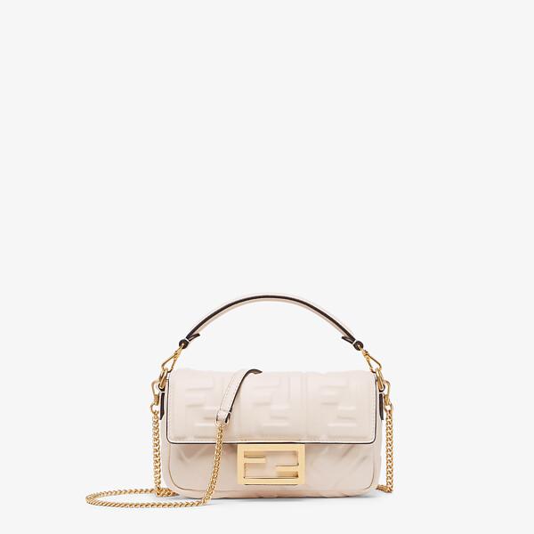 White nappa leather FF bag