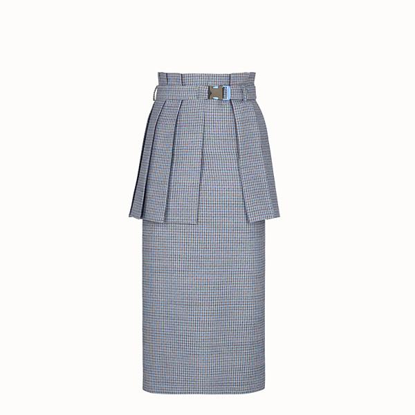 FENDI SKIRT - Micro-check wool and silk skirt - view 1 small thumbnail
