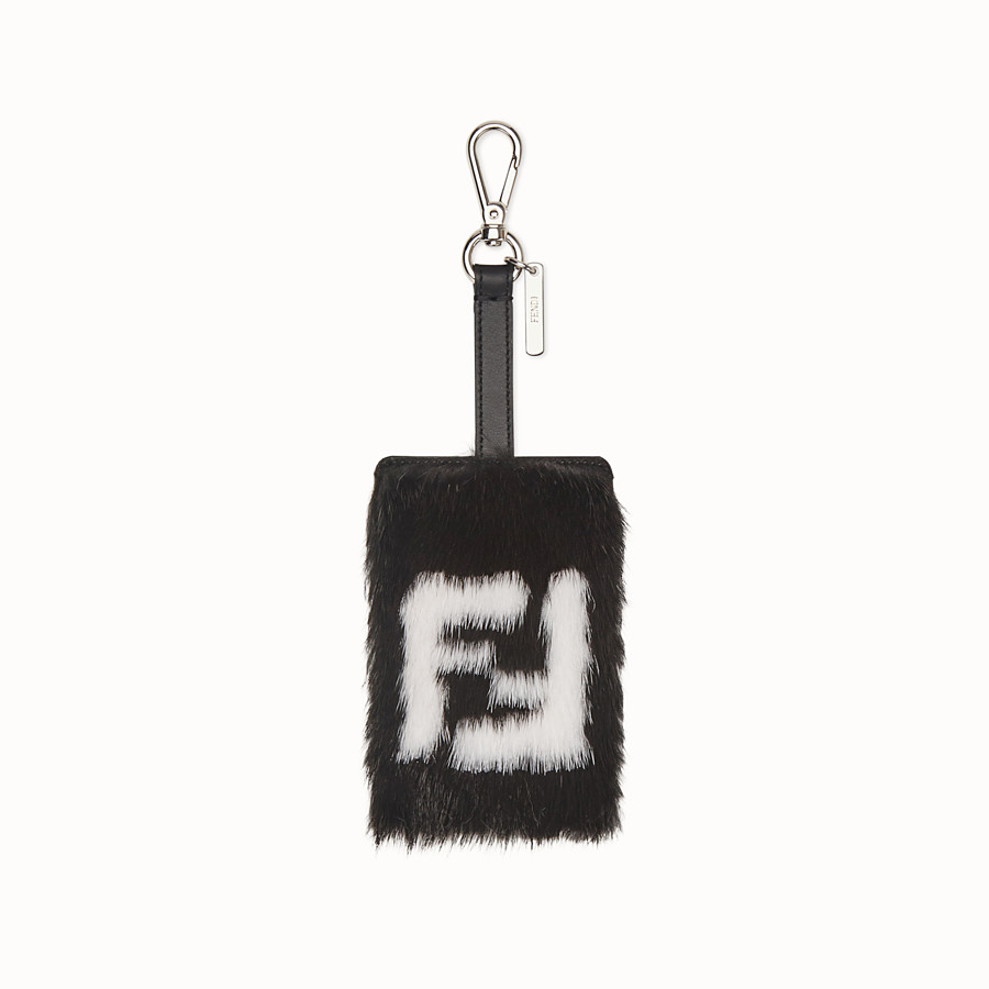 FENDI ADDRESS CARD TAG - Black leather and mink card holder - view 1 detail