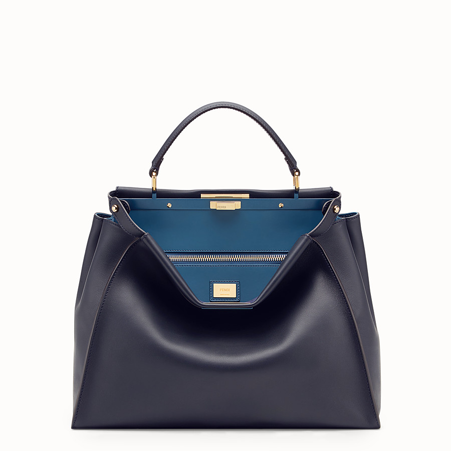 FENDI PEEKABOO LARGE - Blue leather bag - view 1 detail