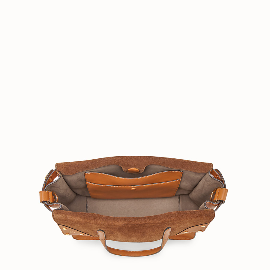 FENDI FENDI FLIP REGULAR - Brown leather and suede bag - view 5 detail