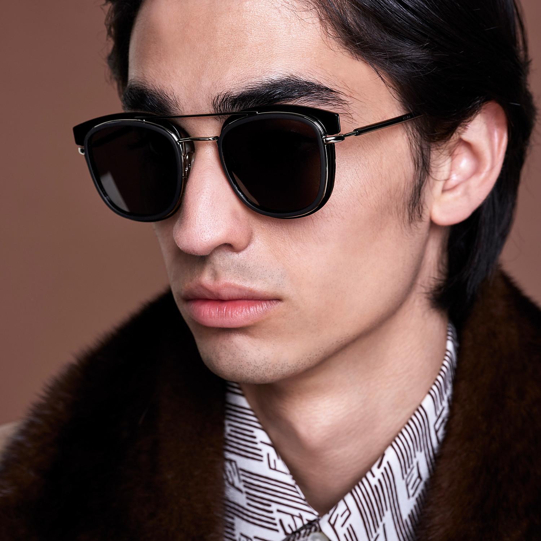 FENDI FENDI GLASS - Dark gray and dark ruthenium sunglasses - view 4 detail