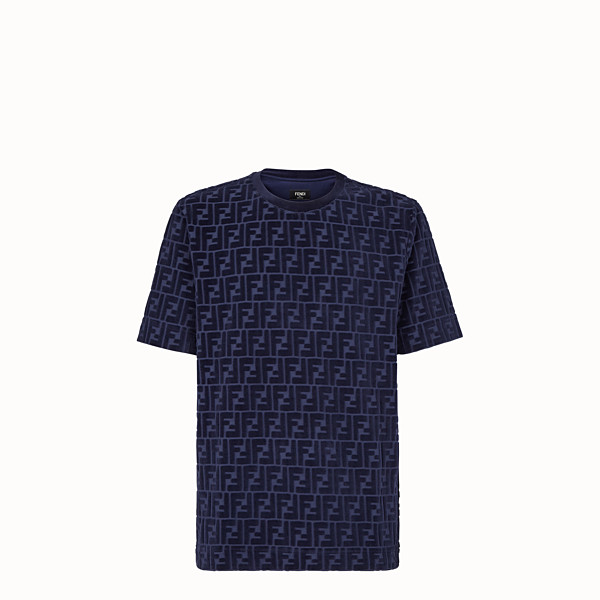 FENDI T-SHIRT - Blue chenille T-shirt - view 1 small thumbnail