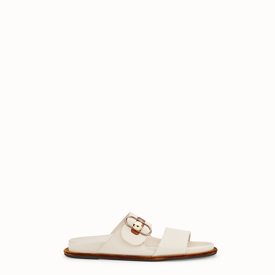 FENDI SANDALS - White leather flats - view 1 detail