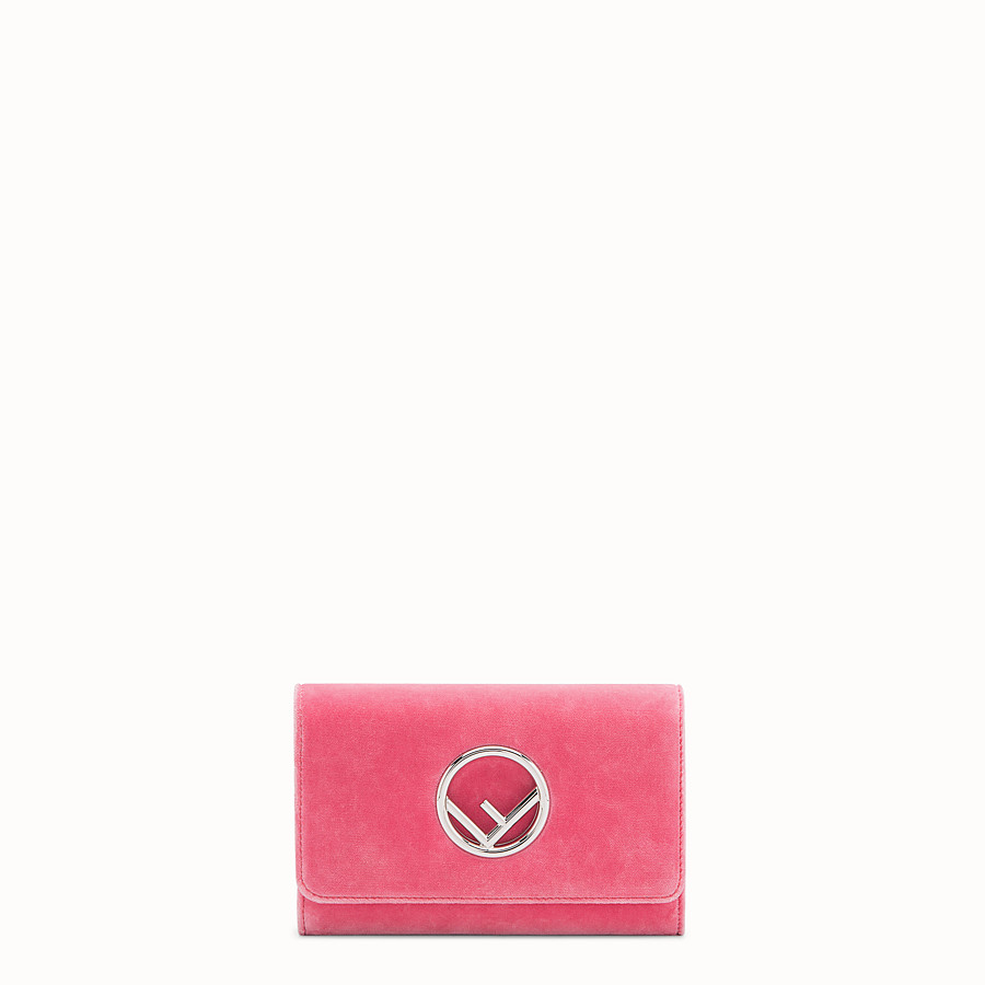 FENDI WALLET ON CHAIN - Pink velvet mini-bag - view 1 detail