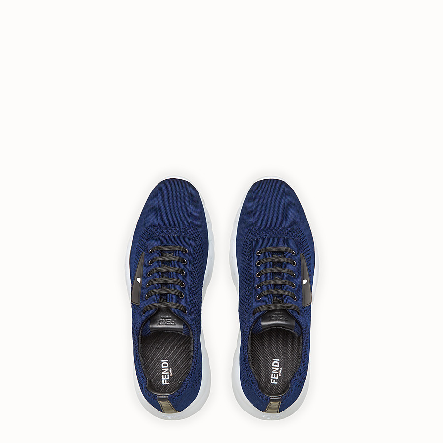 FENDI SNEAKERS - Blue fabric running shoes - view 4 detail