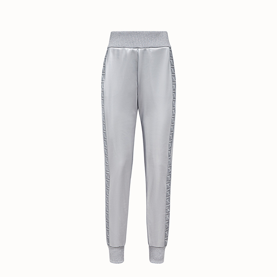 FENDI TROUSERS - Silver, tech fabric jogging trousers - view 1 detail