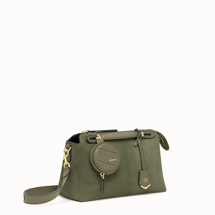 FENDI BY THE WAY MEDIUM - Green suede Boston bag - view 3 detail