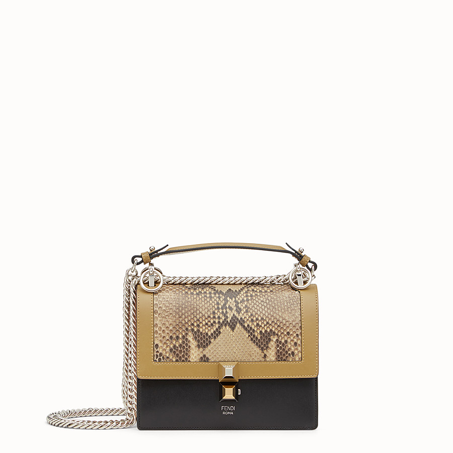 FENDI KAN I SMALL - Mini bag in two-tone leather and python - view 1 detail