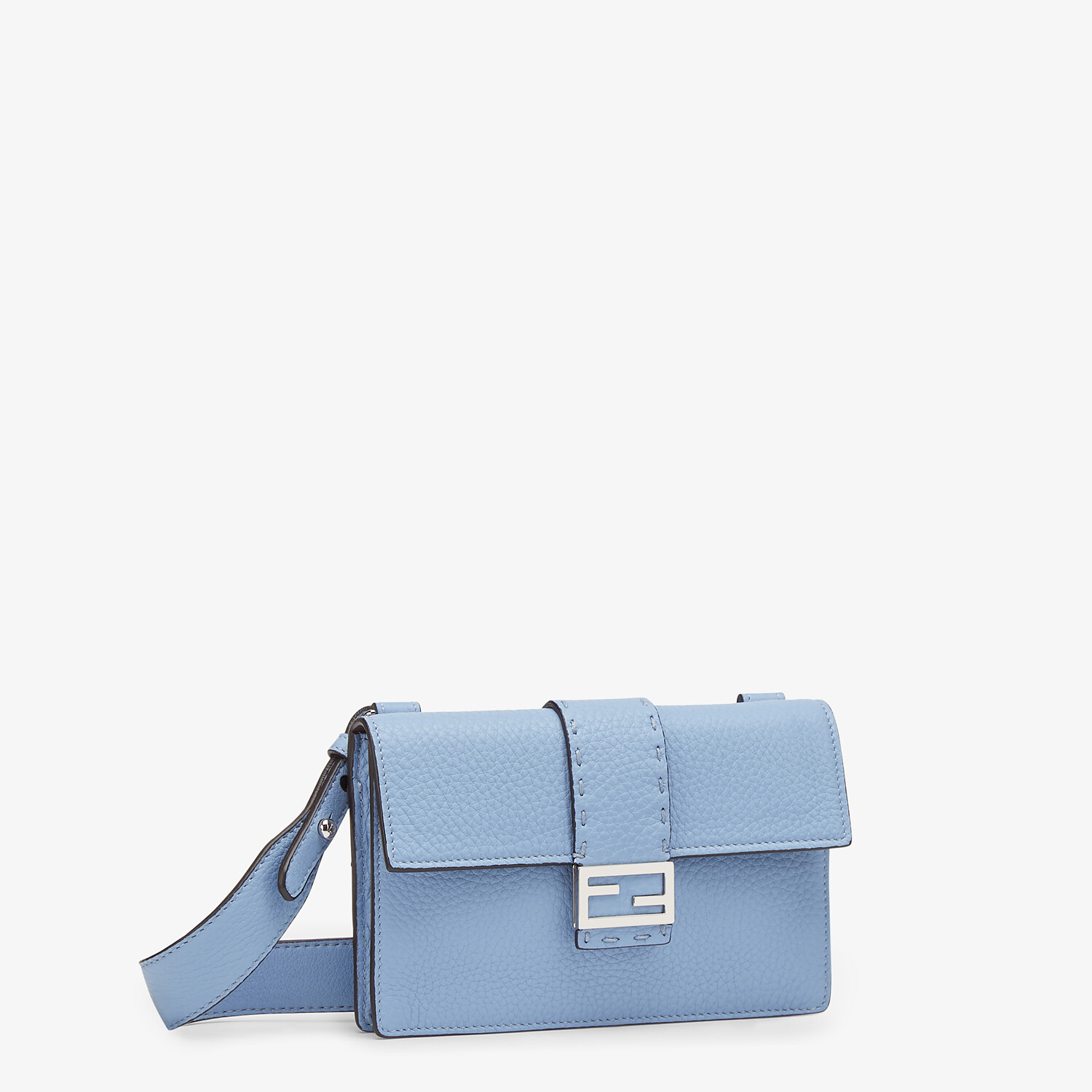 FENDI BAGUETTE POUCH - Light blue leather bag - view 2 detail