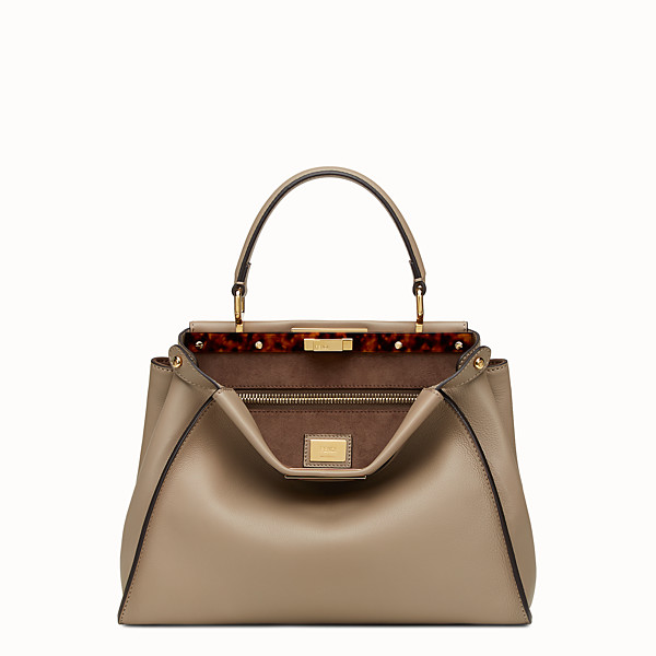 FENDI PEEKABOO ICONIC MEDIUM - sac à main en cuir gris tourterelle - view 1 small thumbnail