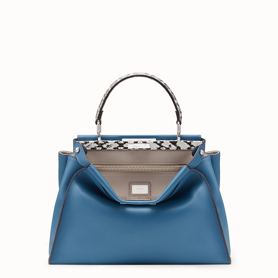 FENDI PEEKABOO REGULAR - Pale blue leather bag with exotic details - view 1 detail