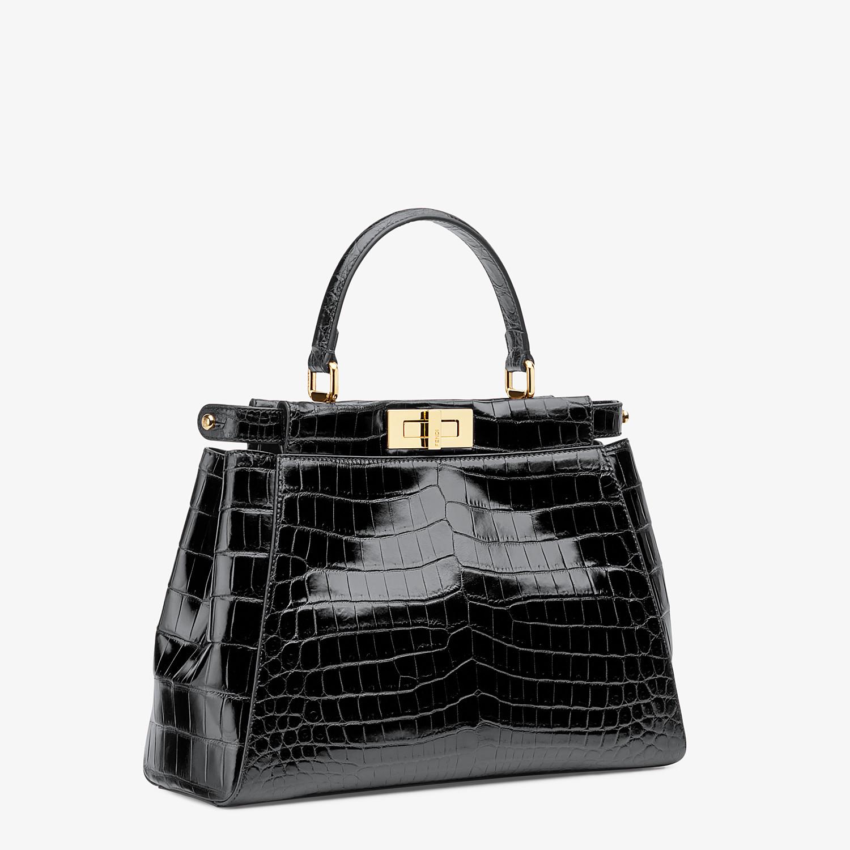 FENDI PEEKABOO ICONIC MEDIUM - Black crocodile leather handbag. - view 2 detail