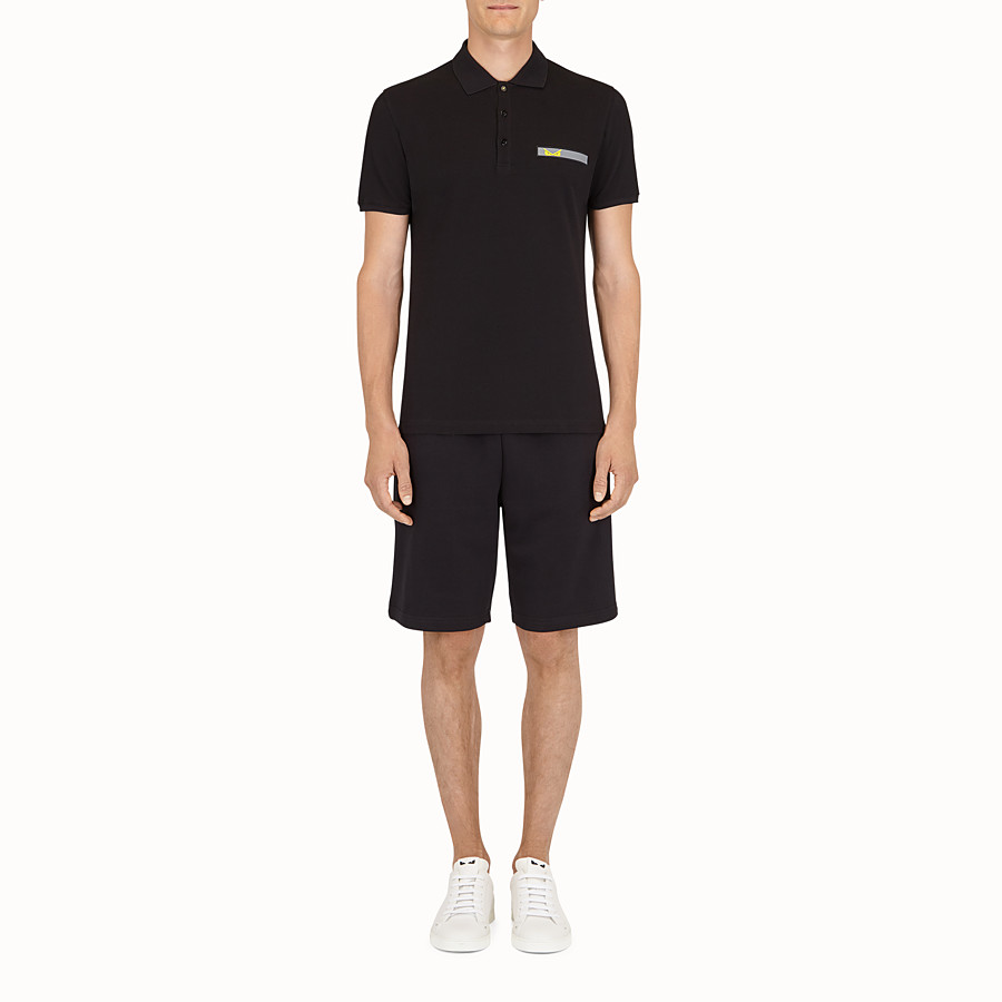 FENDI POLO SHIRT - Black cotton shirt - view 2 detail