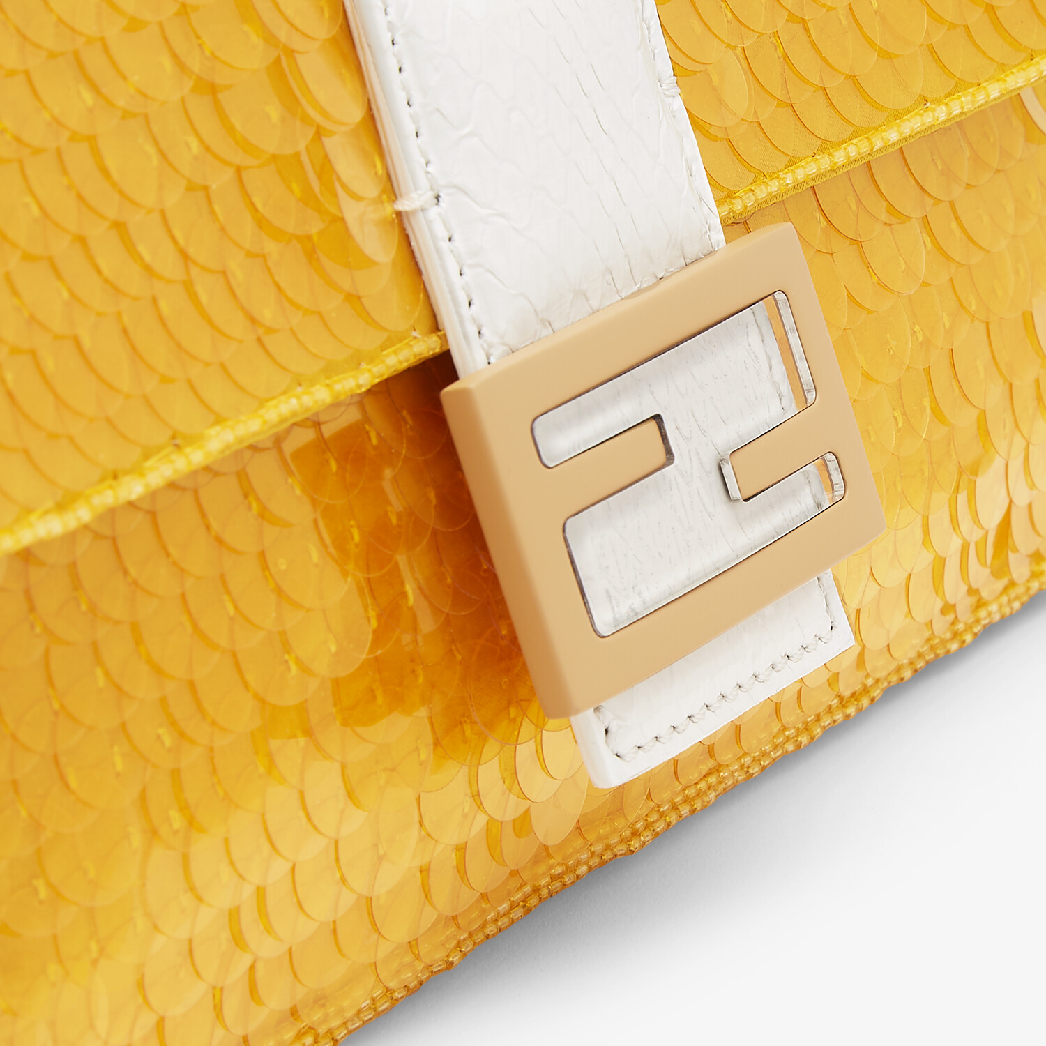 FENDI BAGUETTE 1997 - Yellow satin bag with sequins - view 6 detail