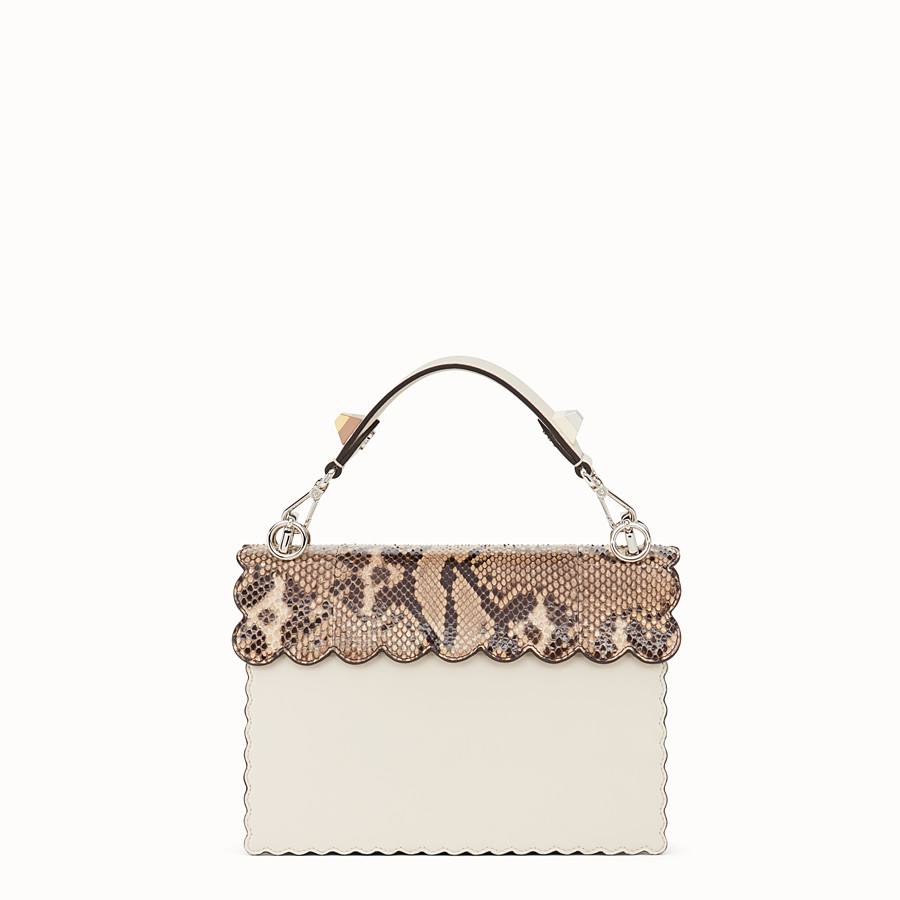 FENDI KAN I - White leather bag with exotic details - view 3 detail