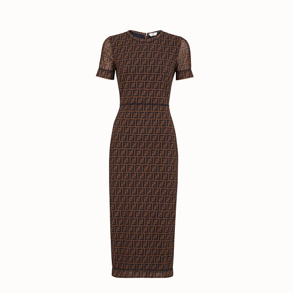 FENDI DRESS - Brown micro mesh dress - view 1 small thumbnail