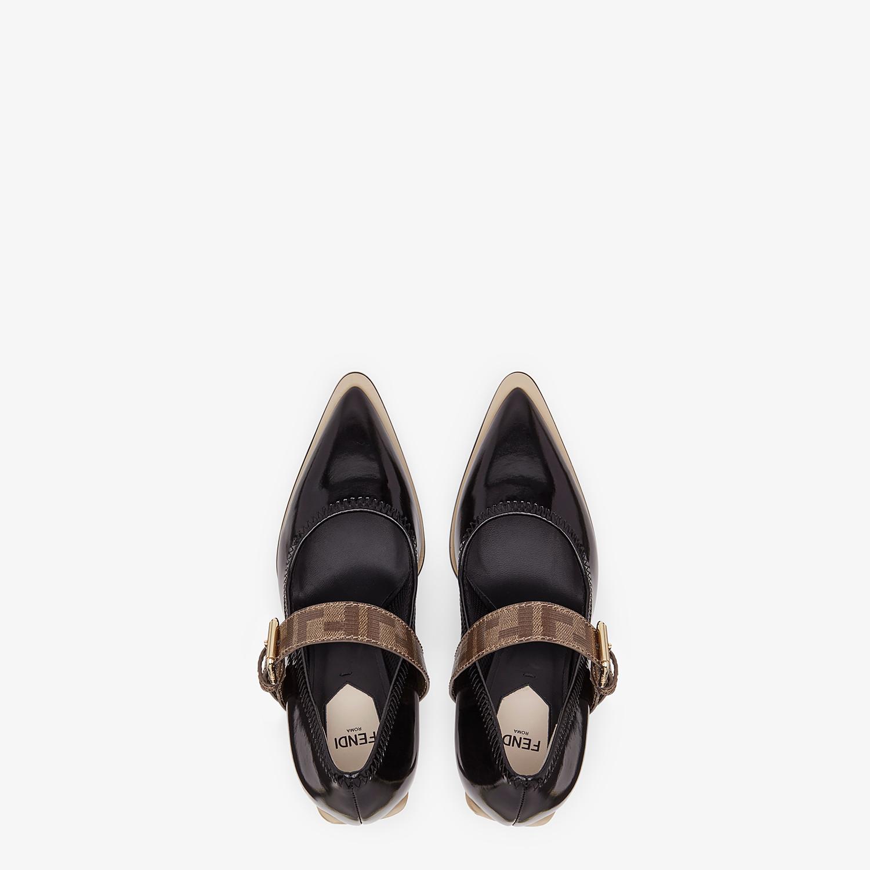 FENDI COURT SHOES - Mary Jane in glossy black neoprene - view 4 detail