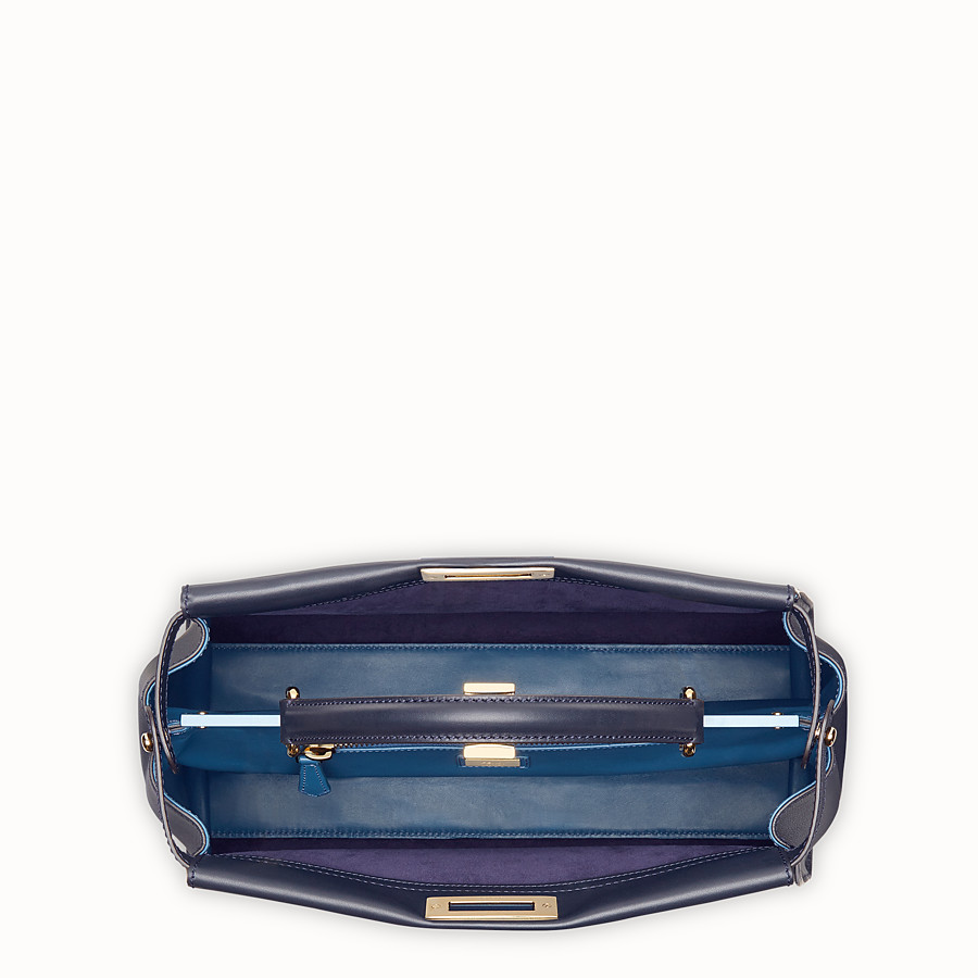 FENDI PEEKABOO LARGE - Blue leather bag - view 4 detail
