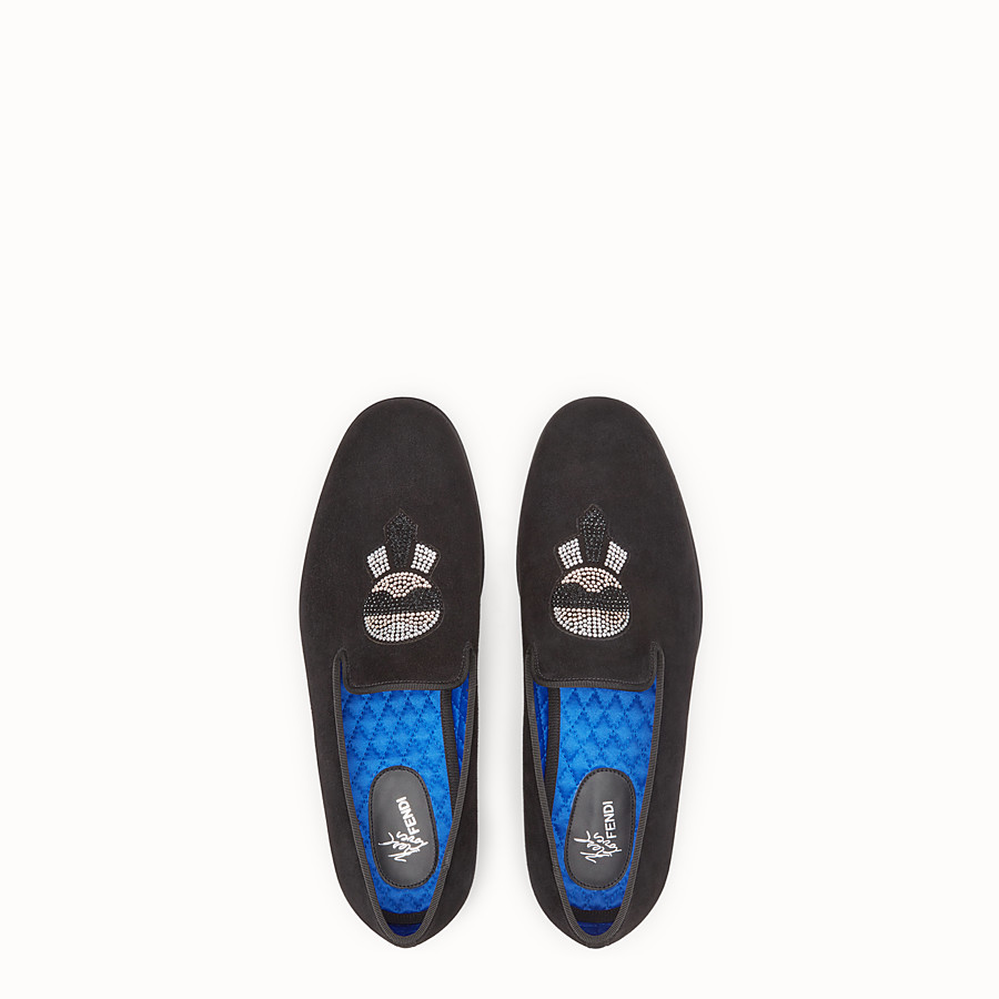 FENDI SLIPPERS - Karlito black velvet shoes - view 4 detail