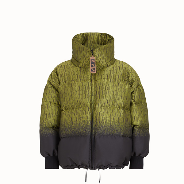 FENDI JACKET - Green nylon down jacket - view 1 small thumbnail