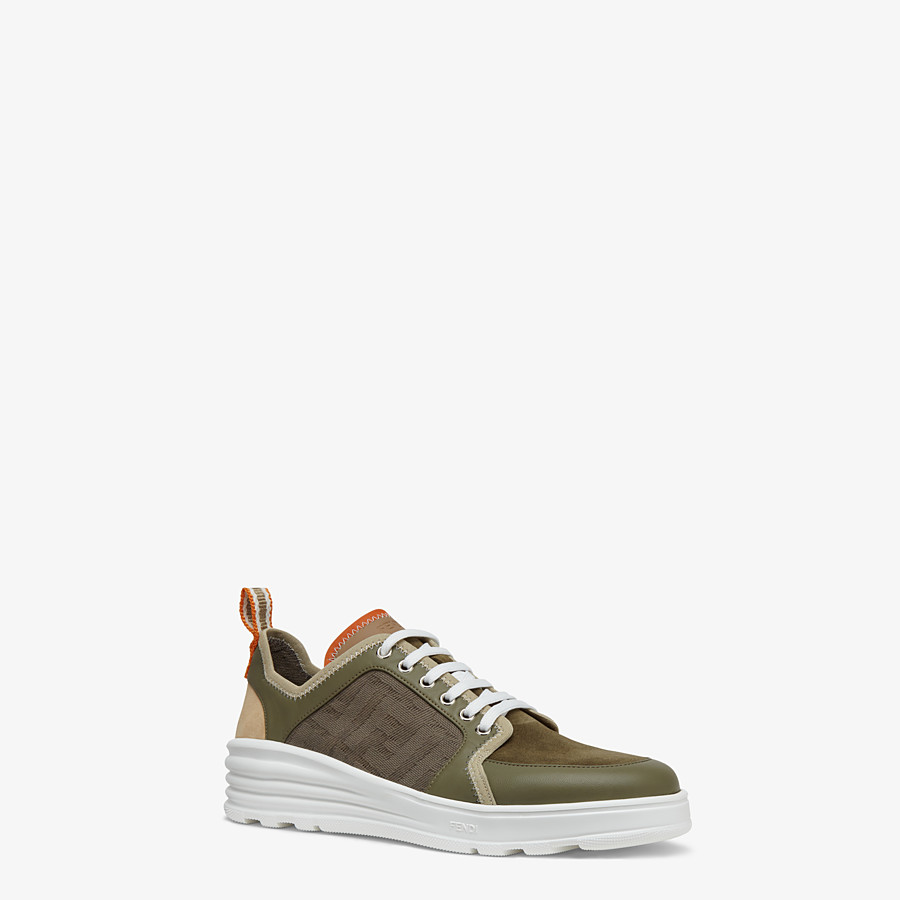 FENDI SNEAKERS - Multicolor leather and suede low-tops - view 2 detail