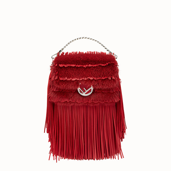 FENDI MICRO BAGUETTE - Micro-bag in red leather and mink - view 1 small thumbnail