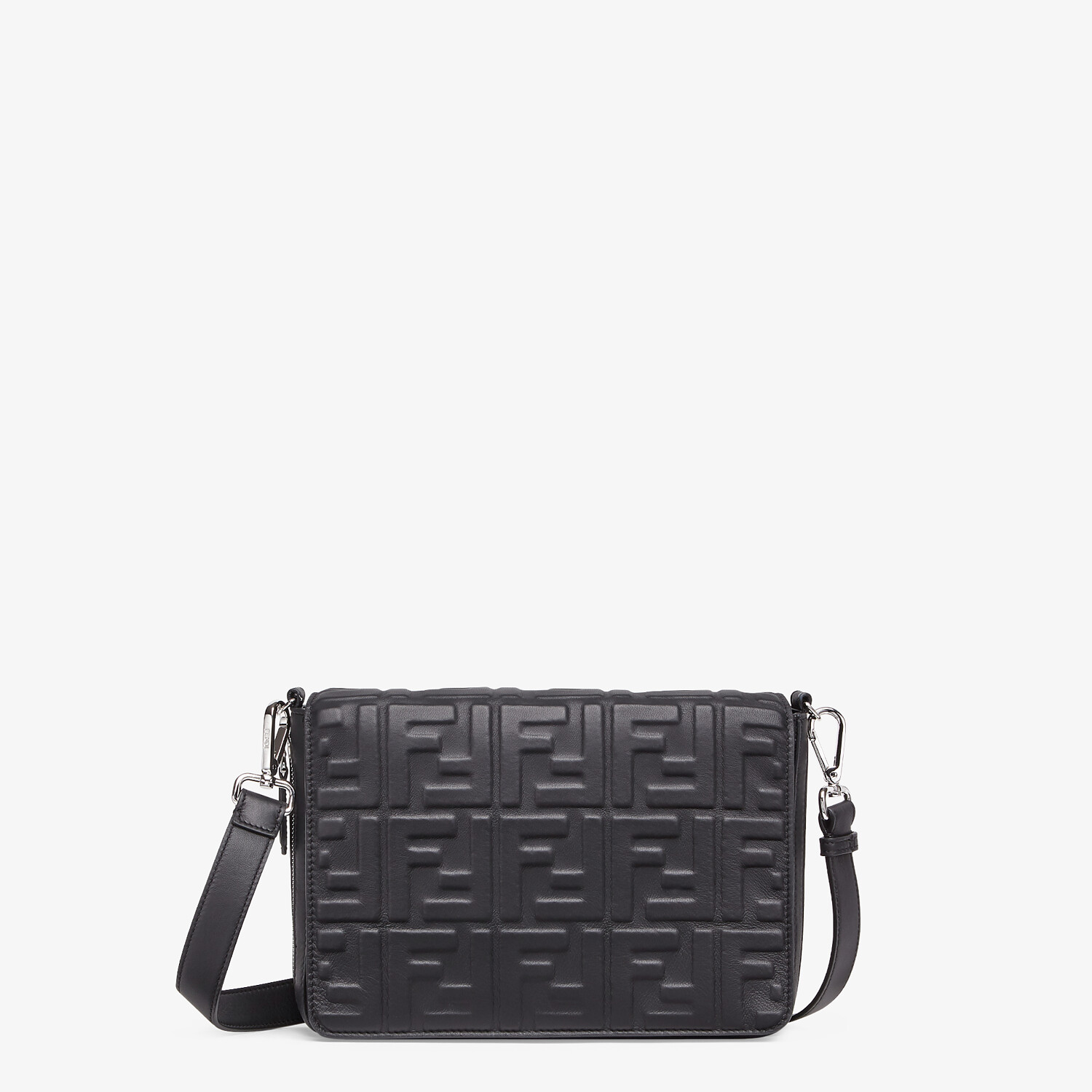 FENDI MESSENGER - Black nappa leather bag - view 1 detail