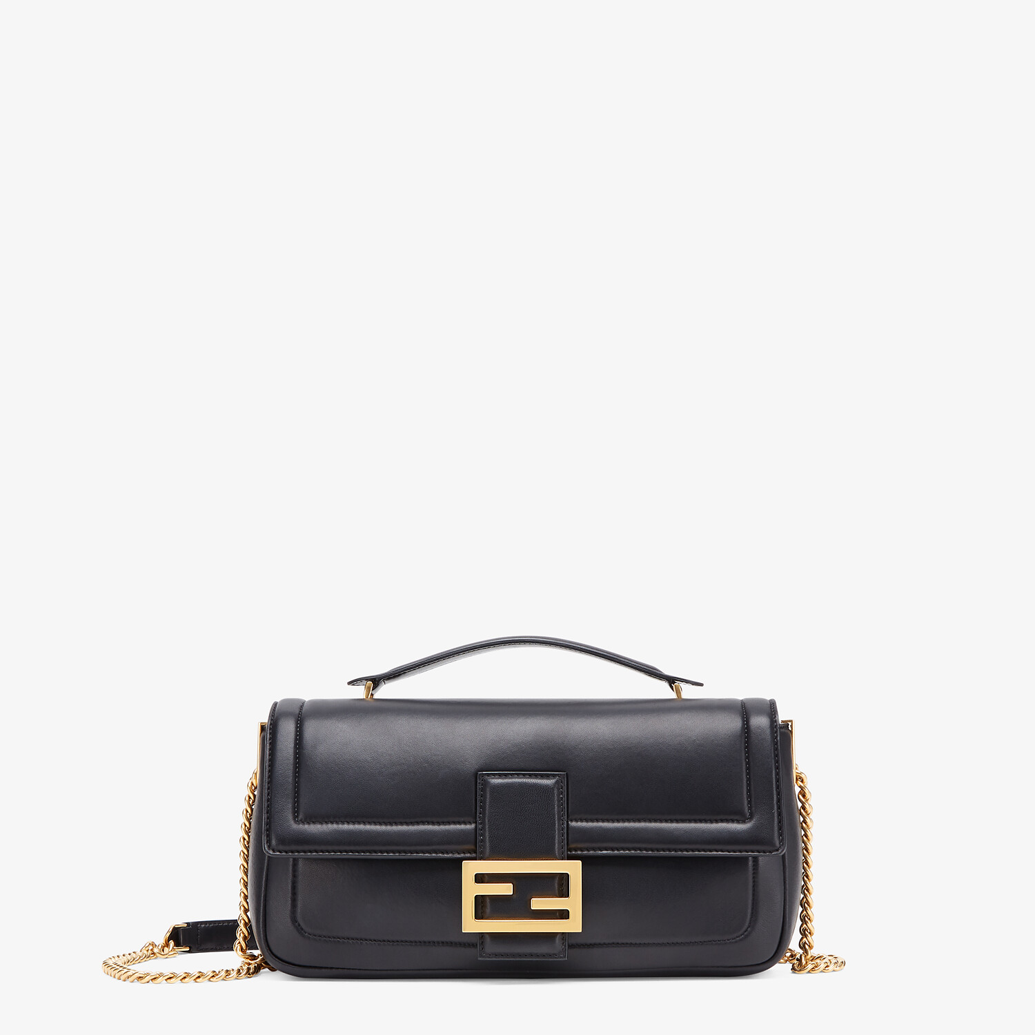 FENDI BAGUETTE CHAIN - Black nappa leather bag - view 1 detail