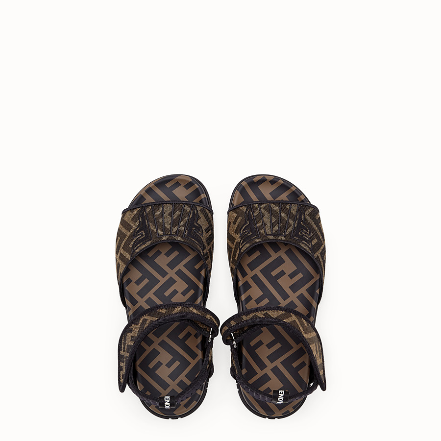 FENDI SANDALS - Multicolor fabric flats - view 4 detail