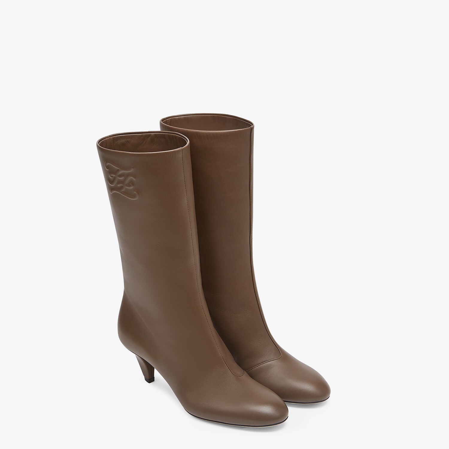 FENDI KARLIGRAPHY - Brown leather boots with medium heel - view 4 detail