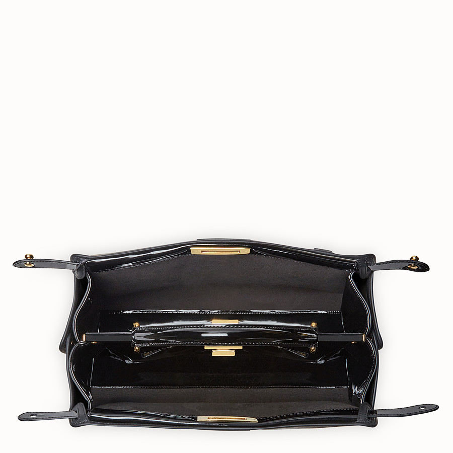 FENDI PEEKABOO DEFENDER - Black patent leather bag with cover - view 5 detail